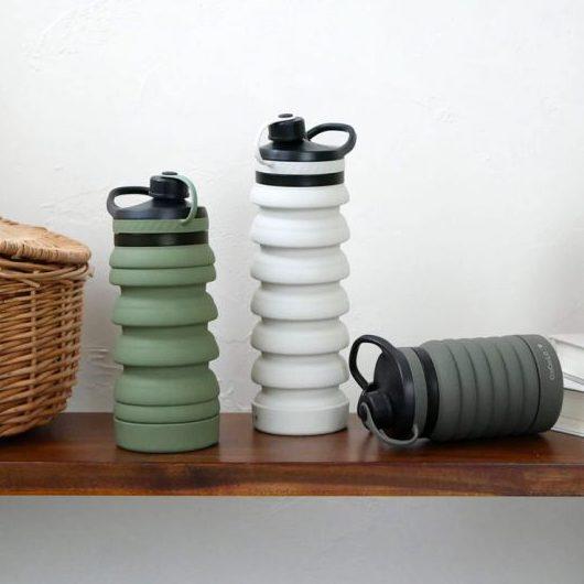 伸縮式水筒「シリコンボトル」。場所を取らないシンプルなルックス!
